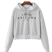 Hooded Sweatshirt with Letter Embroidery