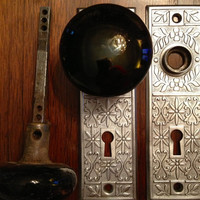 Antique Vintage Door Knob sets with Plates and Mortise Locks.