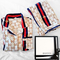GUCCI Fashion Women's Printed Pajamas Casual Wear Two-Piece Set