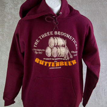 Harry Potter SweatShirt Butterbeer Hoodie. Cotton Burgundy Fleece Sweatshirt. Have A Butterbeer At The Three Broomsticks. Great for Comicon