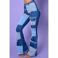 Be My Lover Patchwork Flare Denim