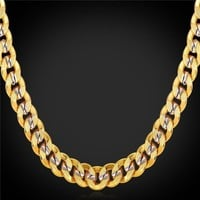Men Chains Necklaces 9MM Platinum 18K Real Gold Plated