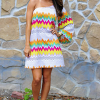 Zig Zag Diva Dress: Yellow/Magenta | Hope's