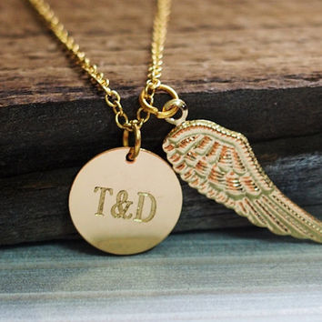 Couples necklace, gold necklace women, angel wing necklace, initial necklace,engraved necklace,custom necklace, gold couple necklace, couple