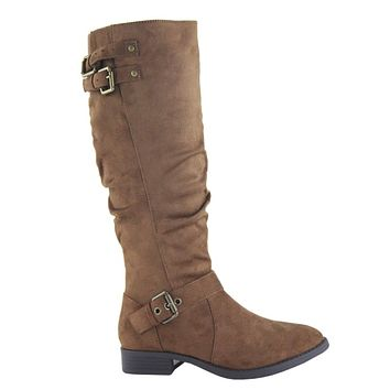 Special Sale! Buckle Detail Tall Tan Suede Riding Boots