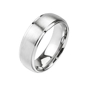 Steel In Love - Brushed Silver Stainless Steel Unisex Dome Ring with Polished Edges