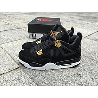 Air Jordan retro 4 IV Royalty men Basketball shoes Suede Black Gold retro 4s Athletic sports shoes sneakers