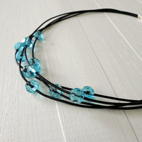 Statement leather necklace turquoise glass beads layered leather cords women's rocker necklace