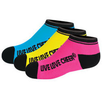 Neon Color Low Ankle Cheerleading Socks in a 3 Pack