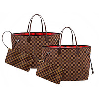 LV Louis Vuitton classic hot sale ladies printed letters two-piece shopping bag shoulder bag Coffee tartn