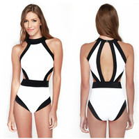One Piece Siamese plus size Swimwears high neck Triangle high waist swimsuit women sexy One Pieces beach bathing suit