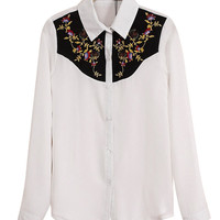 Long Sleeve Embroidery Pointed Flat Collar Blouse