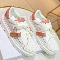 DIOR D letter new shell-toe white shoes with round toe thick bottom fashion all-match sneakers White&Pink