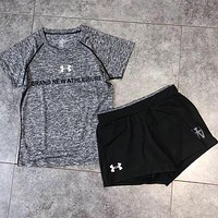 Under Armour Women Casual Sport Yoga Running Shirt Top Tee Shorts Set Two-Piece