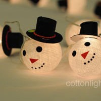 3 meter snowman snow cotton ball string light hanging winter display light party wedding black hat