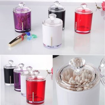 New 1PCS Clear Acrylic Multi-function Q-tip Cotton Swab Toothpick Storage Holder Cosmetic Organizer Storage Boxes Makeup Case