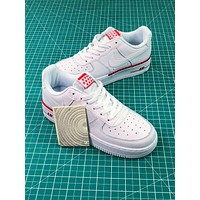 Nike Air Force 1 Low Af1 White / White-red Sport Shoes