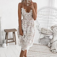 Fashion Women Sexy V Collar Lace Backless Sling Dress White