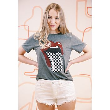 Checkered Tongue Graphic Tee, Heather Grey