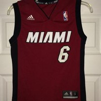 Sale!! Vintage Adidas MIAMI HEAT Basketball Jersey #6 LeBron James NBA shirt