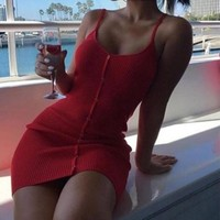 Lossky Summer Women Dress Knitted Cotton Dresses Sexy Club Spaghetti Strap Women Bodycon Bandage Slim Mini Short Dress 2018 Red
