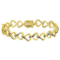 Womens Heart Link Bracelet Multi Color Simulated Diamond Yellow Gold Finish Sale