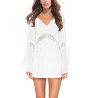 Casual Cut Out Flared Sleeve V-Neck Mini Dress