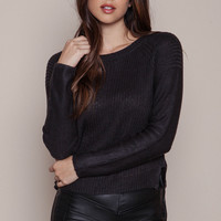 CHARCOAL CHUNKY RIBBED KNIT SWEATER