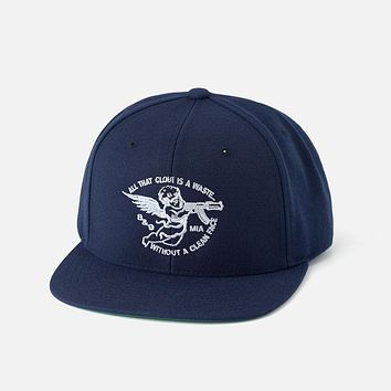 Clout Angel Snapback Hat Navy