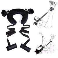 Bondage Strap Neck Pillow Sex Toys Set Sex Open Legs Restraint Bondage Handcuffs Ankle Cuffs Nipple Clamp Whip Erotic Toys