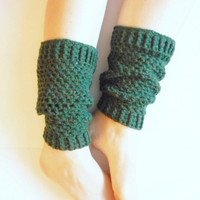Crochet Netted Leg Warmers in Forest Green Wool Blend, MADE TO ORDER.