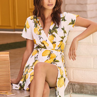 A La Tart White and Yellow Lemon Print Wrap Dress