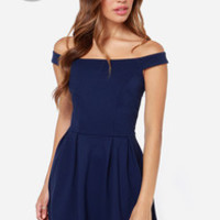 LULUS Exclusive Be Direct Off-the-Shoulder Navy Blue Dress