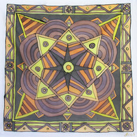 """Hand Painted Silk Scarf. """"At Six AM"""". 90x90cm. Yellow, Black, Orange, Brown. Original Design by Ma'at."""