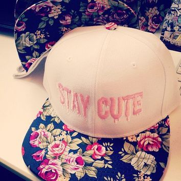 Stay Cute White Floral Snapback