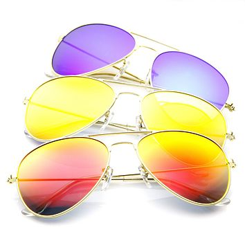 "zeroUV + Plus ""Cunningham"" Gold Mirrored Lens Aviator Sunglasses [3 Pack]"