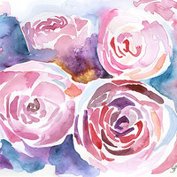 Abstract Peonies Watercolor Painting Giclee Print 8 x 10 Floral - 8.5 x 11 Fine Art Print