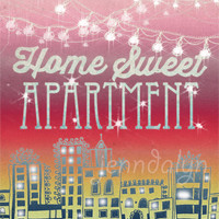Home Sweet Apartment II - apartment decor college apartment string lights city print 8 x 10 PRINT pink sunset maroon magenta