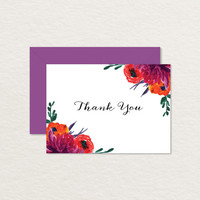 Painted Flowers Printable Thank You Card 4 bar