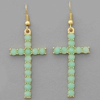 Mint or Peach Cross Blessed Earring