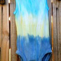 Babies Turquoise, Yellow-Green, and Blue-Gray Dip Dyed Onsie