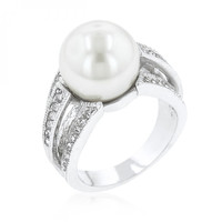12 Mm Shell Pearl Bridal Ring (size: 11)