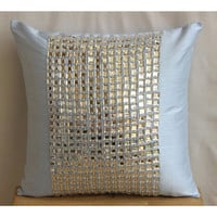 Decorative Euro Sham Covers Accent Couch Pillow 26 Inch Silk Euro Sham Crystal Embroidered Sofa Toss Bedroom Sky Pillows Home Decor - Bling