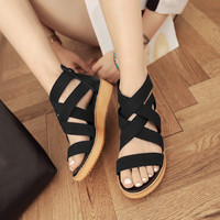 2016 new summer cross straps Rome sandals platform shoes leather shoes 40-43 student code