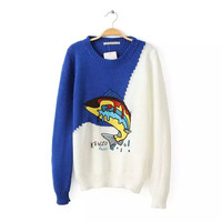 Block Fish Embroidered Knitted Sweater