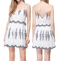 2020 New Women's Sling Embroidery Hollow Small Fresh Dress