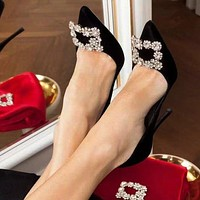 Bunchsun Roger Vivier Women Pointed Stylish Crystal Square Buckle High Heels Shoes
