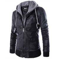 Autumn New Fashion Plus Size Male Zippers Europe Hooded Detachable False Two Young Men 'S Motorcycle Leather Jacket For Men