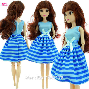 Free Shipping Handmade 1 Set Cute Fashion Blue Dress Clothes Outfit Cloth For Barbie Original Doll Accessories Girl' Gift Toys B