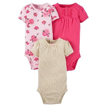 Baby Girls' 3 Pack Short Sleeve Floral Bodysuit Set Pink - Just One You™Made by Carter's®